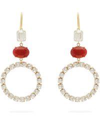 Isabel Marant Créoles à ornements cristaux - Rouge