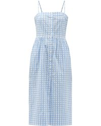 Three Graces London ルイーザ ボタン コットンギンガムドレス - ブルー