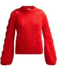 Ganni Julliard Mohair Knit Jumper - Red