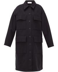 Raey Oversized Long-line Wool Shacket - Blue