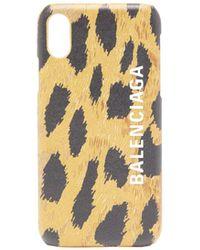 Balenciaga キャッシュ レオパー Iphone X/xs レザーケース - ブラック