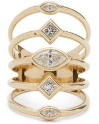 Zoe Chicco Multi-band Diamond & 14kt Gold Ring - Metallic