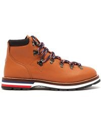 Moncler Peak Lace Up Leather Boots - Brown