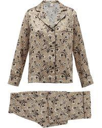 Morpho + Luna Colette Mirage Print Silk Pajamas - Natural