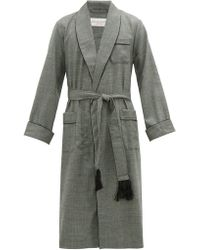 Derek Rose Lincoln Houndstooth Check Wool Robe - Gray