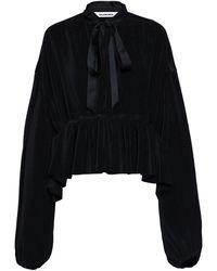 Balenciaga ペプラムヘム プリーツジャージーブラウス - ブラック