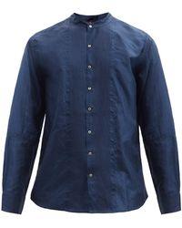 Péro Logo-embroidered Pintuck-pleated Silk Shirt - Blue