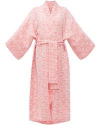 Rossell England - Geometric Jacquard Tie Waist Linen Robe - Lyst