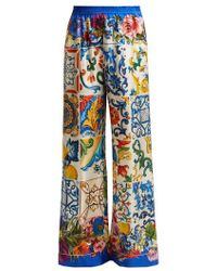 Dolce & Gabbana - Majolica And Floral-print Silk-twill Trousers - Lyst