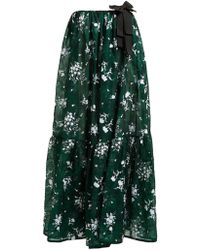 Erdem Theona Tiered Floral Chantilly Lace Gown - Green