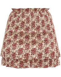 Sir. The Label Floré Floral-jacquard Shirred Cotton-blend Skirt