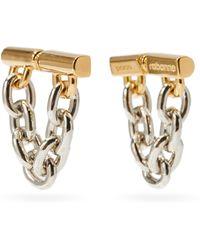 Paco Rabanne Chain-link Logo-engraved Metal Earrings - Metallic