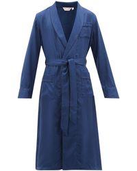 Derek Rose Woburn Striped Silk-satin Robe - Blue