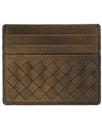 Bottega Veneta - - Intrecciato Leather Cardholder - Womens - Gold - Lyst