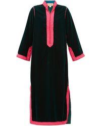 Muzungu Sisters Alia Woven-trim Velvet Tunic Dress - Green