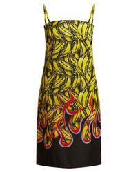 Prada - Banana And Flame-print Gabardine Dress - Lyst