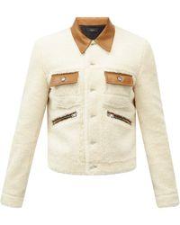 Amiri Trucker Leather-trim Shearling Jacket - White