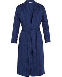 Derek Rose Peignoir en coton rayé Lingfield - Bleu