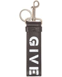 Givenchy Logo Print Leather Lanyard Key Ring - Black