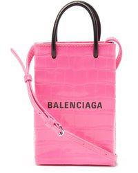 Balenciaga Shopping Mini Croc-effect Leather Cross-body Bag - Pink