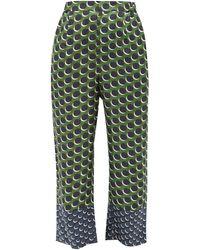 Biyan Pomelo Polka-dot Silk-twill Trousers - Green