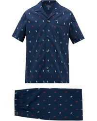 Polo Ralph Lauren Logo-print Cotton-poplin Pyjamas - Blue