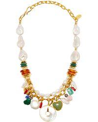 Lizzie Fortunato Collier en plaqué or à charms et perles Vista - Métallisé