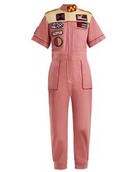 Miu Miu - Marilyn Badge-appliqué Cotton-blend Jumpsuit - Lyst