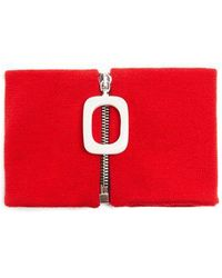 JW Anderson Zip-up Wool Neck Band - Red