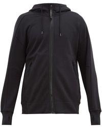 C P Company Sweat-shirt zippé en jersey de coton à capuche - Noir