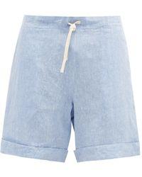 Marané Short en chambray de lin à cordon coulissant - Bleu