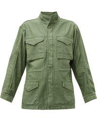FRAME Drawstring-waist Cotton Military Jacket - Green