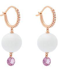 Raphaele Canot 18kt Rose-gold & Agate Drop Earrings - White