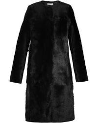 Inès & Maréchal Alain Round-neck Shearling Coat - Black