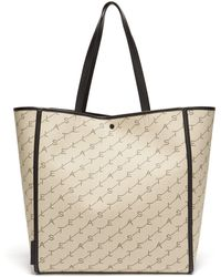 Stella McCartney Monogram Logo Jacquard Canvas Tote - Natural