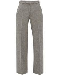 Officine Generale Celeste Houndstooth-check Wool Trousers - Grey