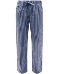 Tekla Striped Organic-cotton Pyjama Trousers - Blue