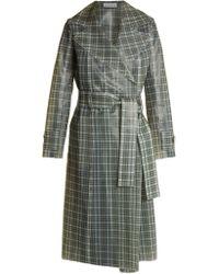 Wanda Nylon Tie Waist Coated Tartan Trench Coat - Multicolour