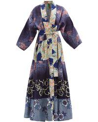 Rianna + Nina Patchwork Vintage-silk Robe - Blue