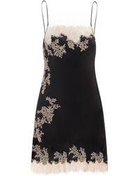 Carine Gilson Square-neck Lace-trimmed Silk Short Slip Dress - Black