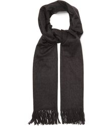 Johnstons Fringed Cashmere Scarf - Gray
