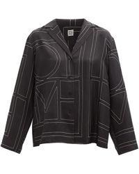 Totême Totême モノグラム シルクシャツ - ブラック