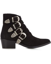 Toga - Buckle Suede Ankle Boots - Lyst