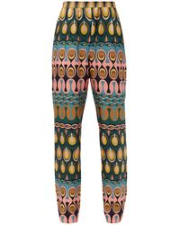 LaDoubleJ Printed Silk-twill Trousers - Multicolour