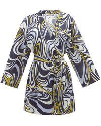 Emilio Pucci Printed Silk-blend Satin Robe - Blue