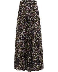 Ganni Floral-print Georgette Maxi Skirt - Black