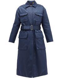 2 Moncler 1952 Marigold Belted Quilted Cotton-blend Satin Coat - Blue
