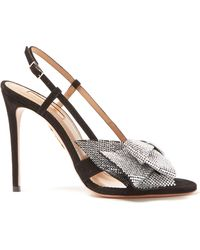 Aquazzura Flash Dance 105 Suede Sandals - Black