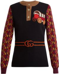 Gucci - Wagon And Tiger-appliqué Wool-blend Sweater - Lyst