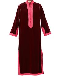 Muzungu Sisters Alia Woven-trim Velvet Tunic Dress - Red